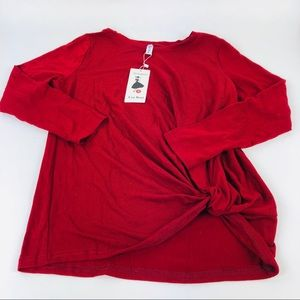 Leo Rosi Front Knotted Top Shirt Red Size S New